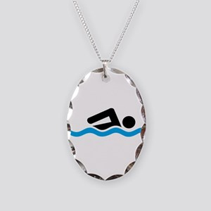swimming Necklace Oval Charm