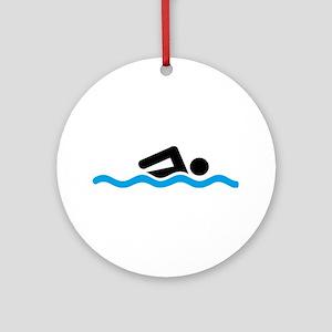swimming Round Ornament
