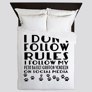 I Follow My Petit Basset Griffon Vende Queen Duvet