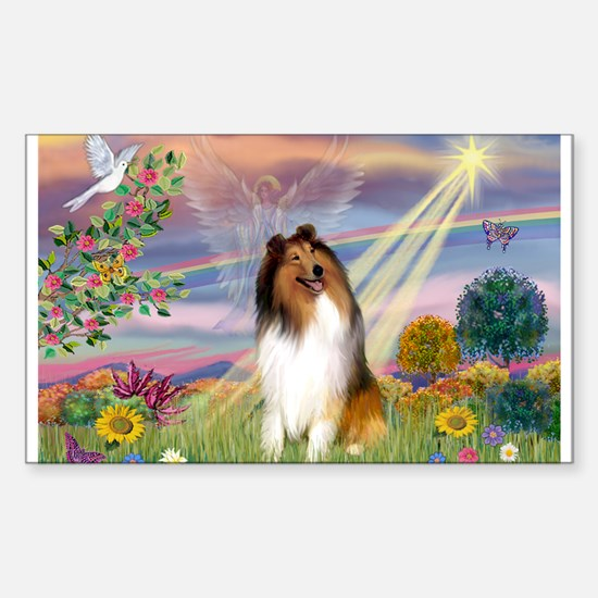 Cloud Angel & Collie Rectangle Decal