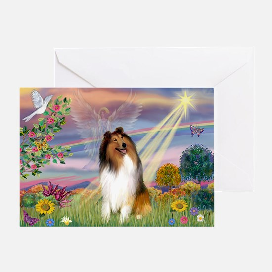 Cloud Angel & Collie Greeting Card