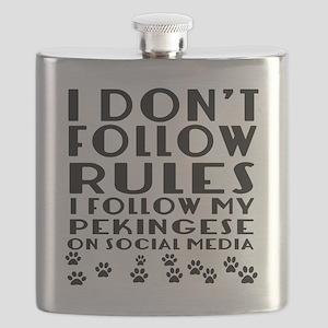 I Follow My Pekingese Dog Flask