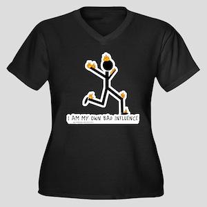 Bad Influence Women's Plus Size V-Neck Dark T-Shir