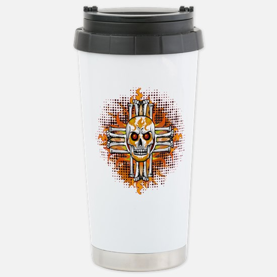 FLAMING SUGAR SKULL ZIA Travel Mug