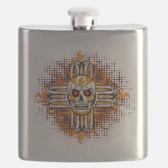 FLAMING SUGAR SKULL ZIA Flask