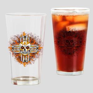 FLAMING SUGAR SKULL ZIA Drinking Glass