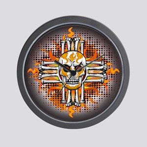 FLAMING SUGAR SKULL ZIA Wall Clock