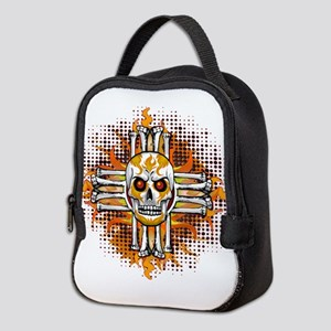FLAMING SUGAR SKULL ZIA Neoprene Lunch Bag