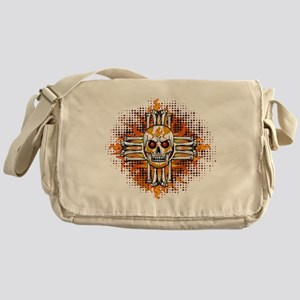 FLAMING SUGAR SKULL ZIA Messenger Bag