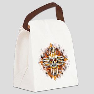 FLAMING SUGAR SKULL ZIA Canvas Lunch Bag