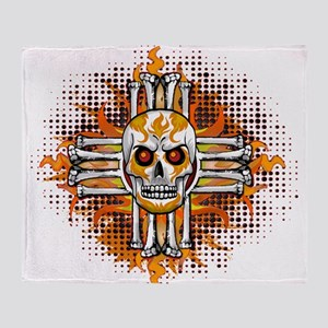 FLAMING SUGAR SKULL ZIA Throw Blanket
