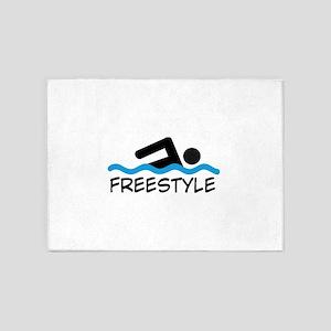 Freestyle Swimming 5'x7'Area Rug