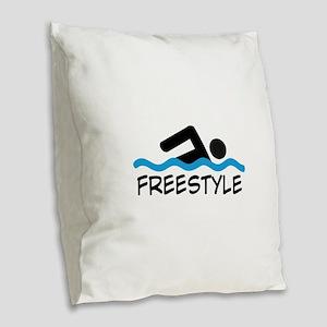 Freestyle Swimming Burlap Throw Pillow