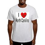 I Love North Carolina (Front) Ash Grey T-Shirt