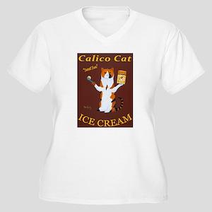 Calico Cat Ice Cr Women's Plus Size V-Neck T-Shirt