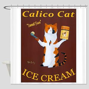 Calico Cat Ice Cream Shower Curtain