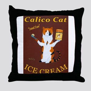 Calico Cat Ice Cream Throw Pillow
