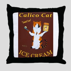 Calico Cat Ice Cream Throw Pillow