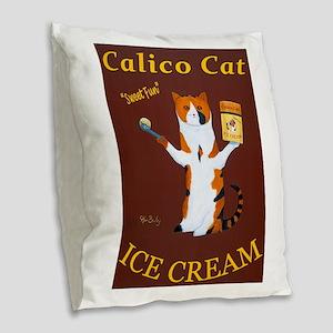 Calico Cat Ice Cream Burlap Throw Pillow