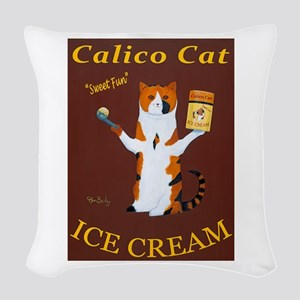 Calico Cat Ice Cream Woven Throw Pillow