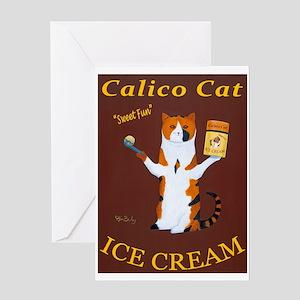 Calico Cat Ice Cream Greeting Card