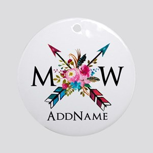 Boho Chic Arrow Monogram Round Ornament