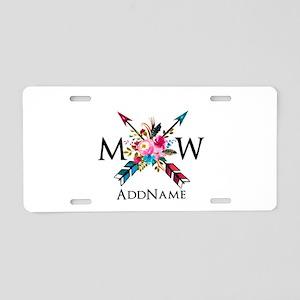 Boho Chic Arrow Monogram Aluminum License Plate