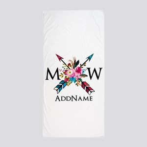 Boho Chic Arrow Monogram Beach Towel