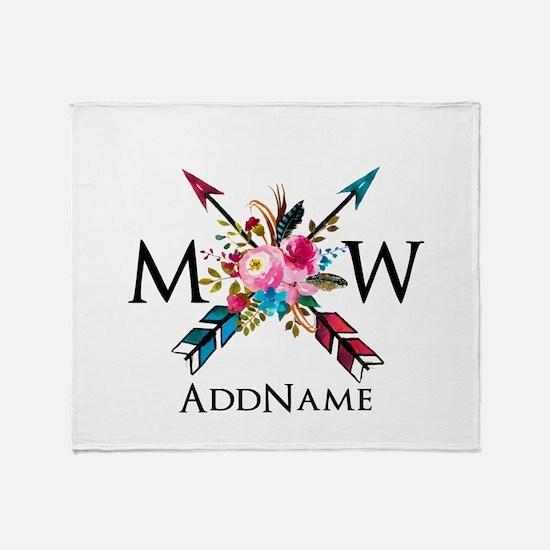 Boho Chic Arrow Monogram Throw Blanket