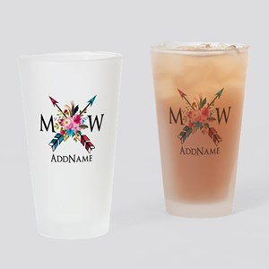 Boho Chic Arrow Monogram Drinking Glass