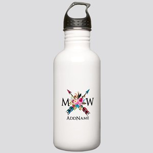 Boho Chic Arrow Monogram Water Bottle