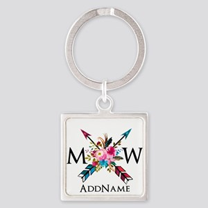 Boho Chic Arrow Monogram Keychains