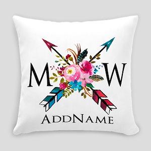 Boho Chic Arrow Monogram Everyday Pillow