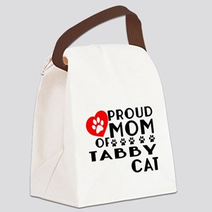 Proud Mom of Tabby Cat Designs Canvas Lunch Bag