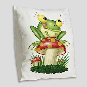 Frog Toad stool Burlap Throw Pillow