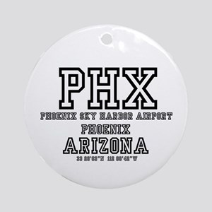 AIRPORT CODES - PHX - PHOENIX SKY H Round Ornament