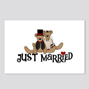 Wedding Bears Just Married Postcards (Package of 8