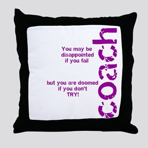 If you don't TRY - purple Throw Pillow