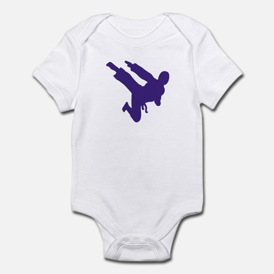 Blue Karate Silhouette Infant Bodysuit