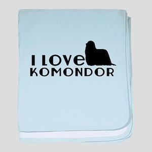 I Love Komondor baby blanket