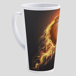 Flaming Basketball 17 oz Latte Mug
