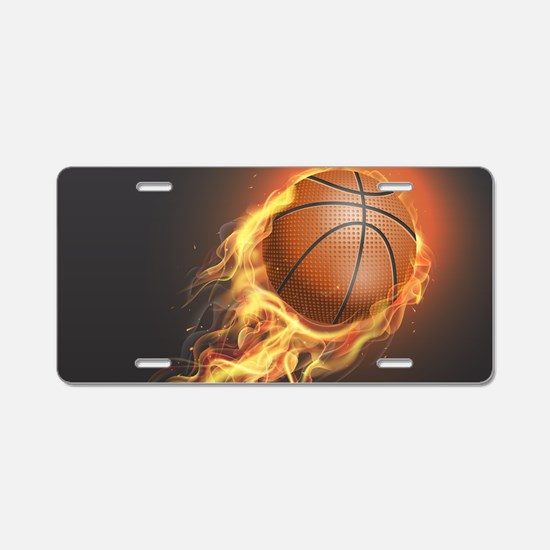 Flaming Basketball Aluminum License Plate