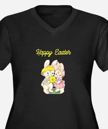 Happy Easter Bunnies Yellow Plus Size T-Shirt