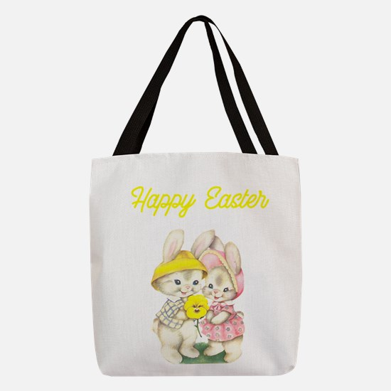 Happy Easter Bunnies Yellow Polyester Tote Bag