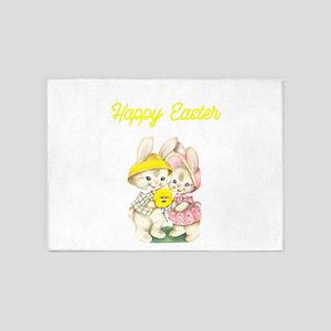Happy Easter Bunnies Yellow 5'x7'Area Rug