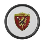 Norway Metallic Shield Large Wall Clock