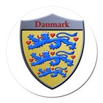 Denmark Metallic Shield Round Car Magnet