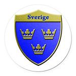 Sweden Metallic Shield Round Car Magnet