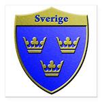 Sweden Metallic Shield Square Car Magnet 3