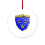 Sweden Metallic Shield Round Ornament